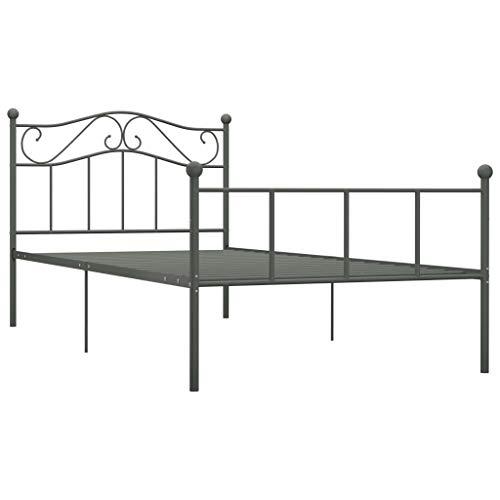 Lasamot Estructura de Cama Individual de Metal para Adultos, niños, niños, Base de armazón de Cama con 6 Patas y Dos cabeceros Adecuado para colchón de 90x200 cm, Gris