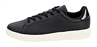 Anta Glitter-Backstay PerForated Low-Top Lace-Up Sneakers For Women - Black, 39 EU