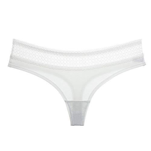 Xiaopang Tanga Solide Farbe Spitze Sexy Frauen Unterwäsche Damen Nahtlose Slips Baumwolle Aushöhlen Höschen Sexy G-String Tanga Weibliche Dessous XL weiß