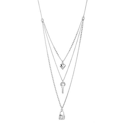 Vanbelle Sterling Silver'Heart','Lock' &'Key' Multi-charim & Multi-layer Chain Necklace with Rhodium Plating for Women and Girls
