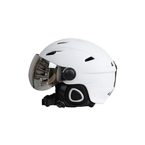 zawq Hombres Mujeres Casco de esquí Gafas Snowboard Casco Máscara Moto Moto de Nieve Monopatín Casco Invierno Cálido Polar Gafas Visera-Blanco_L