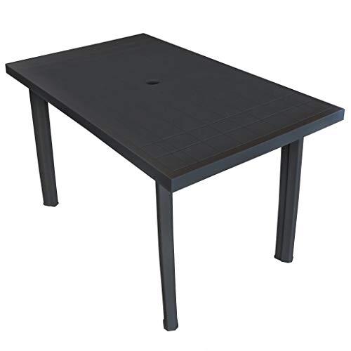 vidaXL Gartentisch mit Schirmloch Witterungsbeständig Esstisch Campingtisch Tisch Terrassentisch Gartenmöbel Anthrazitgrau 126x76x72cm Kunststoff