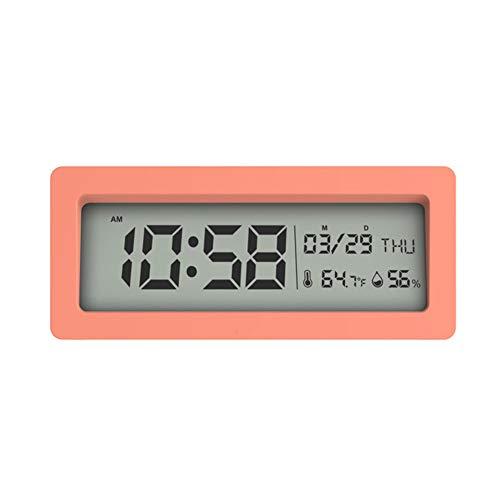 Temperatuurwekker, digitale multifunctionele vochtmeter wek je tijd met een kleurrijke repeater. Eenvoudige instelling comfortabele batterijwerking voor onderweg, roze.