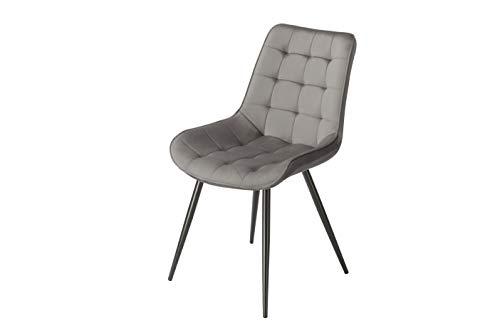 Popfurniture Lisboa Samt Designer Esstisch Stühle | stylisch & Leichter Aufbau | Auch ideal als Schminktisch Stuhl & Samt Stuhl | Stühle Esszimmer, Stuhl Esszimmer, Esszimmerstühle Samt | Grau