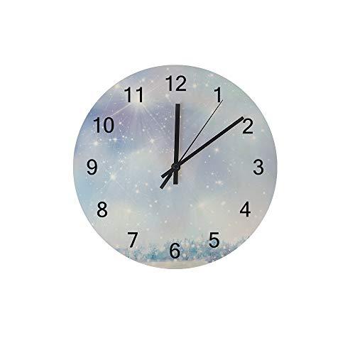 HaoXiang Wanduhr für Innendekoration Winterstern Holz Uhr 30x30x0,5 cm