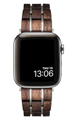 TENSE // Holzarmband 40mm für Apple Watch Serie 6 5 4 (UND Armband 38mm - Serie 1 2 3) Walnuss/Silber