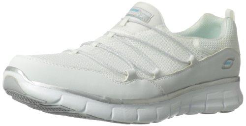 Skechers Sport Women's Loving Life Memory Foam Fashion Sneaker,White/Silver,5 M US