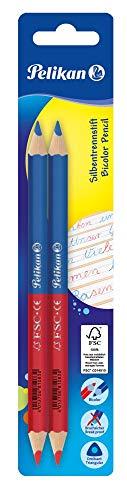 Pelikan 811118 - Lápices de color rojo-azul, rojo y azul grueso, grueso, triangular, 2 piezas, uso pedagógico escolar y educativo