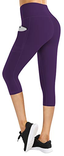 Fengbay Capri Leggings for Women,Yoga Capris with Pockets Yoga Pants Workout Pants for Women Purple