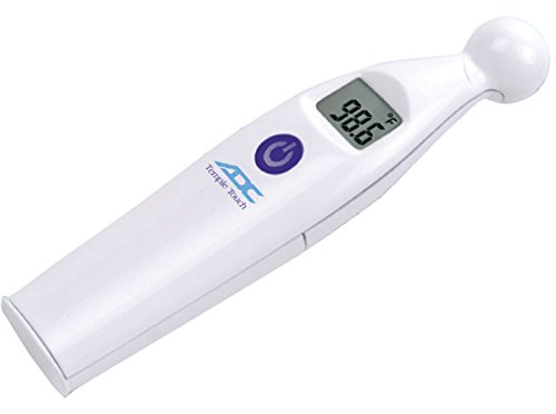 ADC Temple Touch Digital Fever Thermometer, Non Invasive and Quick Read, Suitable for Babies, Newborns, Kids, and Adults, Adtemp 427, White