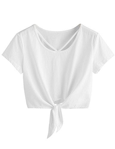 SweatyRocks Women's Loose Short Sleeve Summer Crop T-shirt Tops Blouse White#5 L