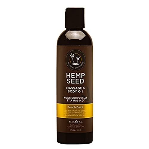 Hemp Seed Massage & Body Oil, Beach Daze Scent - 8 fl. oz. - Nourishing, Moisturizing Massage Oil - Hemp Seed, Apricot, Grapeseed & Sweet Almond Oil - Vegan & Cruelty Free