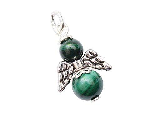 Engel-Anhänger echt Silber Edelstein-Perle echter Malachit Erzengel Raphael Schutzengel handgemacht