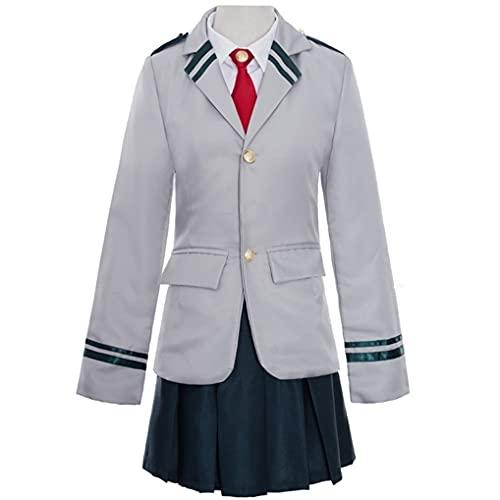 My Hero Academia Uniforme Chica Estudiante Traje Boku Uniforme Escolar Japones CosplayCostume Izuku Ochako Tsuyu Girls School Uniform Dress Outfit (Gris, S/ 150-155cm)