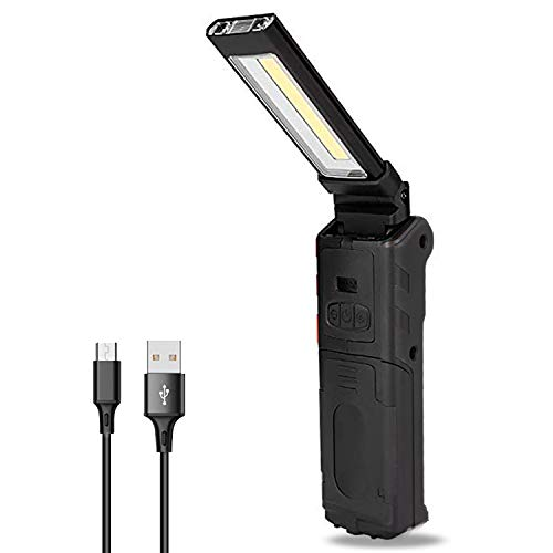 Dr. Prepare COB LED Work Light 400-Lumen Rechargeable Flashlight, Handheld Inspection Worklight with Strong Magnetic Base, 270° Rotation, 4000mAh Batteries for Repair, Garage, Emergency