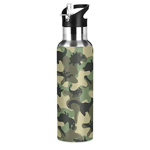 BGIFT Botella de agua con diseño de dinosaurio de camuflaje militar con tapa de pajita, con aislamiento al vacío, taza termo de acero inoxidable, botella de agua de 20 onzas para deporte, bicicleta,