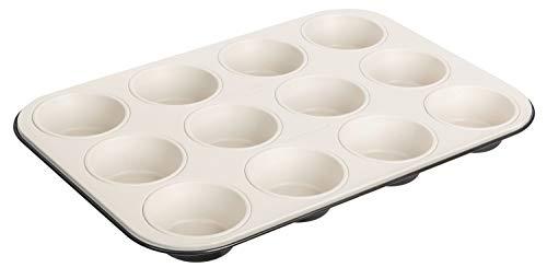 Dr. Oetker 12er-Muffinform Ø 5 cm Exclusive, Muffinbackform aus Stahlblech, Backblech mit keramisch verstärkter Antihaftbeschichtung (Farbe: Grau-Braun/Crème), Menge: 1 Stück