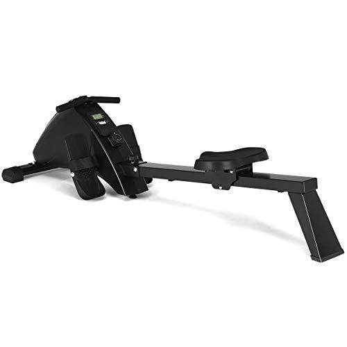 COSTWAY Rudergerät magnetisch, Rudermaschine klappbar, Ruderbank mit 10-stufigem Widerstand, LCD-Monitor und Transportrollen, Nutzergewicht bis 120 kg, schwarz