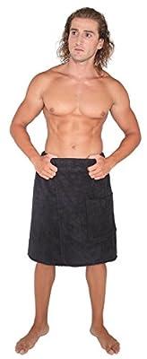 Arus Men's GOTS Certified Organic Turkish Cotton Adjustable Closure Spa Shower and Bath Wrap
