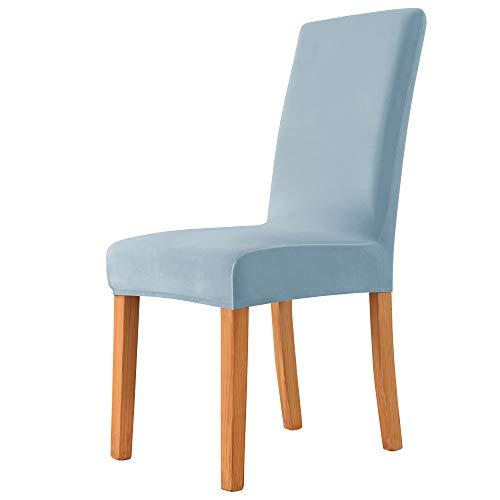 MILARAN Samt-Stuhlbezüge für Esszimmer, weicher Stretch-Sitzbezug, waschbar, abnehmbar, Parsons-Stuhlschutz, 4 Stück, himmelblau