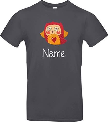 Shirtstown - Maglietta con simpatici motivi Il nome desiderato gufo, zoo, animali, scritte con logo Tè Niki. grigio. S