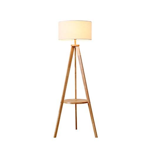 Floor lamp E27 Floor Lamp Fabric Lampshade Floor Lamp Nordic Solid Wood Tripod With Storage Shelf Standing Lamp Bedroom Living Room Floor Light (Color : Wood color)