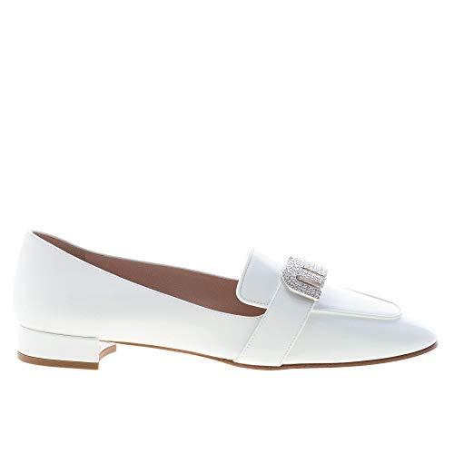 Miu Miu Donna Mocassino in Vernice Bianco con Logo Gioiello Color Bianco Size 37