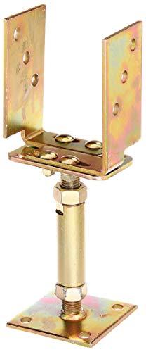 GAH-Alberts 218058 U-Pfostenträger | höhen- und breitenverstellbar und zum Aufschrauben | galvanisch gelb verzinkt | Breite 71 - 161 mm | Höhe 150 - 190 mm