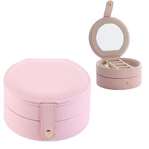 KABINA 9 mooie ronde draagbare opbergdoos voor oorbellen, waterdicht, van PU-leer, drie lagen. roze, blend, L