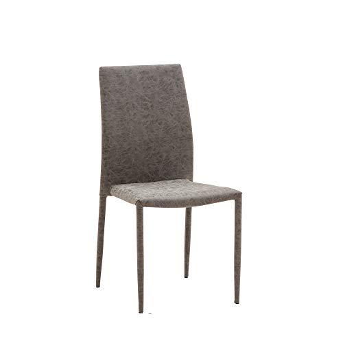Cribel, Set 6 sedie Mimì, Ecopelle Grigio Meccanico, Design Moderno, Ideali per Sala da Pranzo, Soggiorno, Living