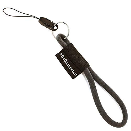 Stylischer Schlüsselanhänger (anthrazit schwarz - 15cm) - Schlüsselband mit Ring für Schlüssel, Ausweis, Handy, Kamera - Lanyard für Damen, Herren & Kinder (Anthrazit)