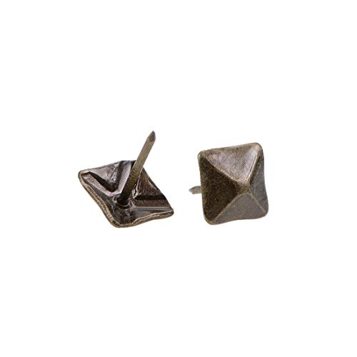 uxcell Upholstery Nails Tacks 12mm Square Head Antique Furniture Nails Pins Bronze Tone 40 Pcs