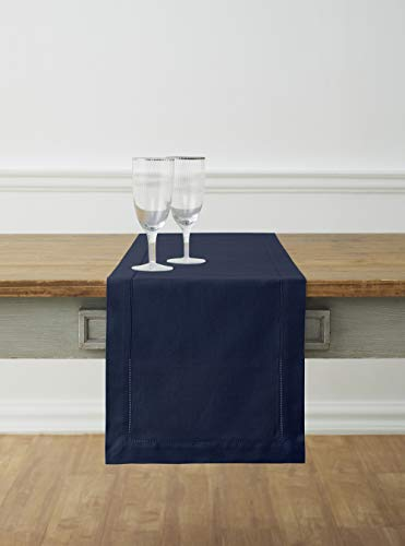 Solino Home Hemstitch Cotton Linen Table Runner – 14 x 108 Inch, Natural Fabric Machine Washable Table Runner – Navy