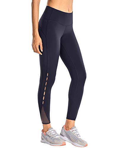 CRZ YOGA Damen Sports Leggings Sporthose Mit Hoher Taille - Nacktes Gefühl-63cm Marine-R422 38