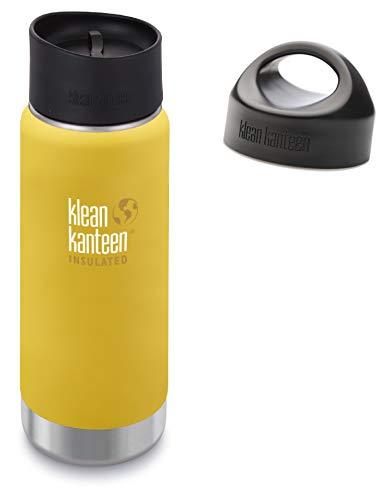 Klean Kanteen Unisex, Wasserflasche, mit Vakuum-Isolierung, für Erwachsene, Modell TKWide 16 oz, Leak Proof Café Cap 2.0 and Loop Cap Lemon Curry