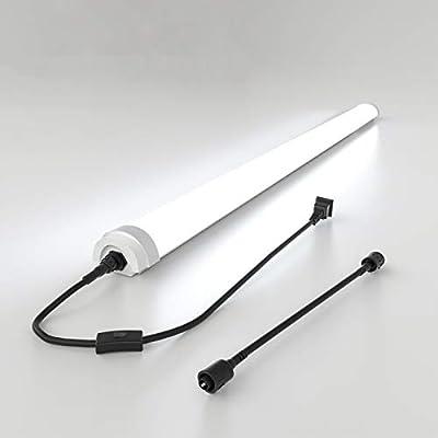 4FT LED Ceiling Light Fixture, Ocioc LED Shop Light 36W 5000K Daylight, Waterproof, Linkable LED Tube Light for Garage, Workbench, Kitchen, Bathroom, Laundry Room, Closet, Hallway Lighting
