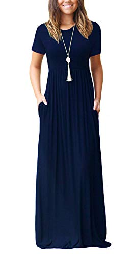 DEARCASE Women's Short Sleeve Casual Loose Long Maxi Dresses with Pockets Navy Blue Medium