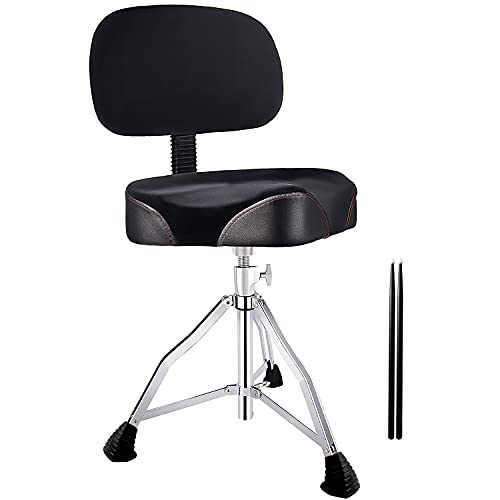 CHACHAZO Drum Throne Drum Chair with Backrest, Drum Stool with Back Rest Motorcycle Style Drum Throne Heavy Duty with Cloth Top Memory Foam Drummer Stool &5A Sticks