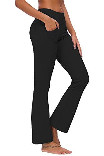 TownCat Pantalones de chándal de Mujer Pantalones de Yoga Acampanados Pantalones de Fitness Pantalones de Yoga con Bolsillos (Negro, XXL)