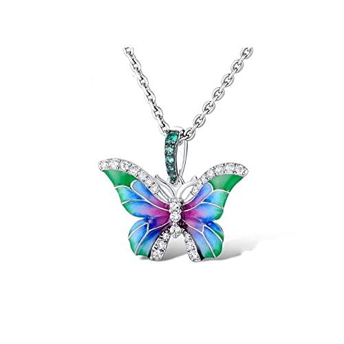 RXDZ Exquisito Esmalte Hecho a Mano 925 de Plata esterlina Collares de Mariposa para Mujer Cubic Zirconia Gargantilla Collar de declaración de joyería