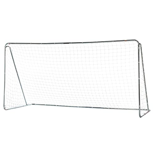 Franklin Sports Competition Soccer Goal - Steel Backyard Soccer Goal with All Weather Net - Includes 6 Ground Stakes - 12'x6' Soccer Goal - Silver