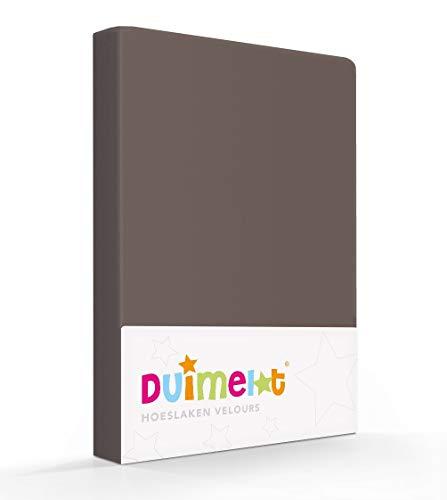 Duimelot Hoeslaken Taupe Velours, 80% Katoen, 20% Polyester, 220 gr/m2 Baby hoeslaken/Junior hoeslaken 60x120/70x140/150