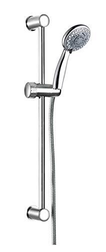 AQUAE T192002 - Saliscendi con doccia anti calcare 4 getti, supporto asta in ABS fisso, finitura cromata, flessibile in metallo 150 cm incluso