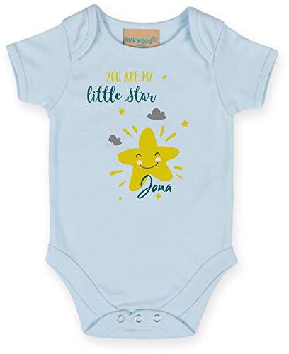 Body mit Namen | Motiv Little Star - Kleiner Stern | Personalisieren & Bedrucken | für Mädchen & Jungen Kurzarm Baby-Strampler inkl. Namensdruck