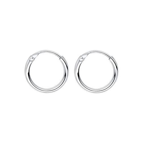 Sleeper Cartilage Tiny Hoop Earrings 925 Sterling Silver Round Septum Hinged Nose Ring Helix Tragus Piercings 8mm 10mm 12mm (10mm)