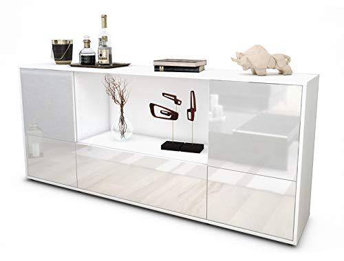 Stil.Zeit Sideboard Elvezia/Korpus Weiss matt/Front Hochglanz Weiß (180x79x35cm) Push-to-Open Technik