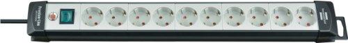 Brennenstuhl Premium-Line, Steckdosenleiste 10-fach (Steckerleiste mit Schalter und 1,8m Kabel - 45° Winkel der Schutzkontakt-Steckdosen, Made in Germany) schwarz/grau