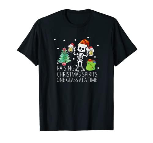 Pijama Esqueleto De Navidad Top Divertido Santa Navidad Cerveza Adulto Camiseta