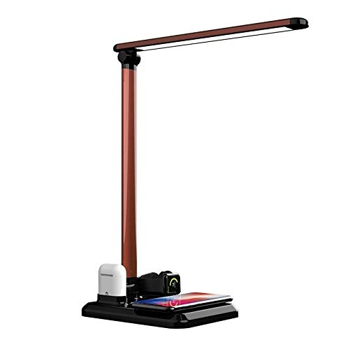 Lampara Mesilla Cargador inalámbrico Soporte lámpara de escritorio LED, puerto de carga USB, Fast estación de carga inalámbrica compatible con Apple iPhone reloj Airpods X Max / XR / X / 8 Plus, 7.5W