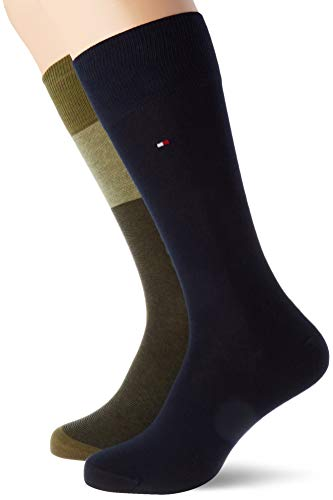 Tommy Hilfiger Th Men Sock 2p Tommy One Row calcetines, oliva, 39/42 (Pack de 2) para Hombre
